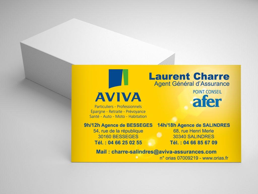 Carte De Visite Pour Laurent CHARRE Assureur AVIVA